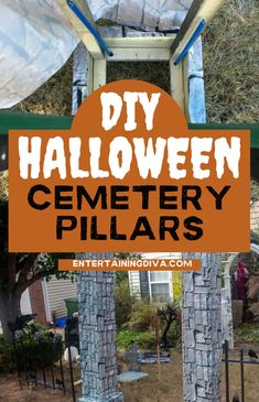 What's a Halloween yard haunt without a Halloween graveyard? Which means you also need a graveyard entrance. And these DIY cemetery pillars are just the thing! | Yard Haunt Haunted House Decorations, Spooky Halloween Decorations, Diy Halloween Decorations, Outdoor Decorations, Halloween Graveyard, Halloween Haunted Houses, Outdoor Halloween, Halloween Diy, Halloween Table Settings