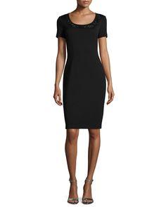 Milano Knit Sequined Sheath Dress, Caviar/Jet
