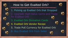 Picking up Exalted Orb that Dropped Upgrade High-Value Gems and Trade for Exalted Orb Exalted Orb Divination Cards Exalted Orb Vendor Recipe Trade PoE Currency for Exalted Orb Buy Exalted Orb from Seller Vendor Recipe, Farming Guide, Divination Cards, Gems, Recipes, Rhinestones, Jewels, Ripped Recipes