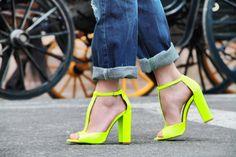 neon heels from Zara