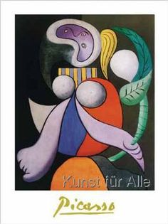 Woman with a Flower, 1932 by Pablo Picasso. I don't usually like Picasso / cubism but I am so in love with this Kunst Picasso, Art Picasso, Picasso Paintings, Art Paintings, Georges Braque, Cubist Movement, Art Moderne, Oeuvre D'art, Framed Art Prints