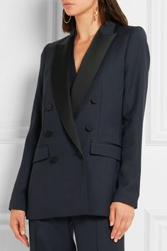 Navy grain de poudre wool, black satin Button fastenings through double-breasted front 100% wool; trim: 73% acetate, 27% viscose; lining: 100% acetate Dry clean  Made in France