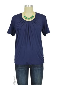 Ester Pleated Short Sleeve Bubble Hem Nursing Top in India Ink. Please use coupon code NewProducts to receive 15% off these items. To receive the discount, please place your order by midnight Monday, May 4, 2015