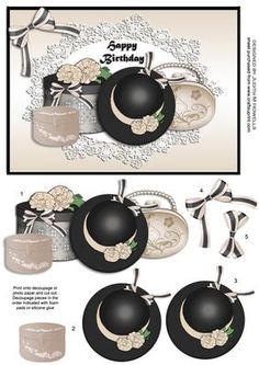 Ladies Day in Black and Beige on Craftsuprint designed by Judith Mary Howells - All the things a lady needs on her special day, hat, handbag, hat box and jewellery box, on a lace doily and a beige satin background with matching bow. - Now available for download!
