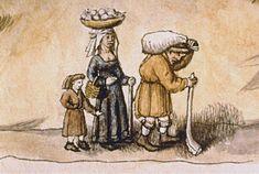 Une famille paysanne Armorial de Revel, France (Auvergne), autour de 1456 Paris, BnF, département des Manuscrits, Français 22997, fol. 344 Les parents sont lourdement chargés, surtout le père. La femme transporte les denrées fragiles (panier à œufs), l'enfant ne porte rien. Il accompagne ses parents au marché pour s'initier aux techniques de la vente.