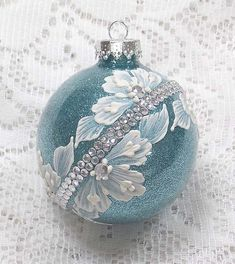 Soft Blue Glitter Hand Painted White 3D Floral Texture Design with Bling 345