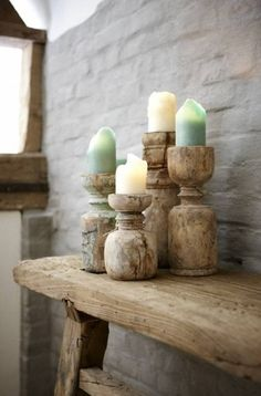 recycled wooden candlesticks