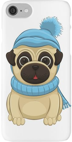 Winter Pug iPhone Cases by AnMGoug on Redbubble. #Winter #scarf #toque #pug #iPhone