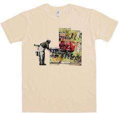 Banksy T Shirt - Grafitti Wallpaper - Sand / Small
