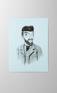 Paul Klee offset and screen printed greeting card artist portrait Print Finishes, Paul Klee, Letterpress, Screen Printing, Light Blue, Character Design, Greeting Cards, Stamp, Portrait