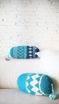 Pillow Crochet Marrakech blues diamonds por lacasadecoto en Etsy, €26.00