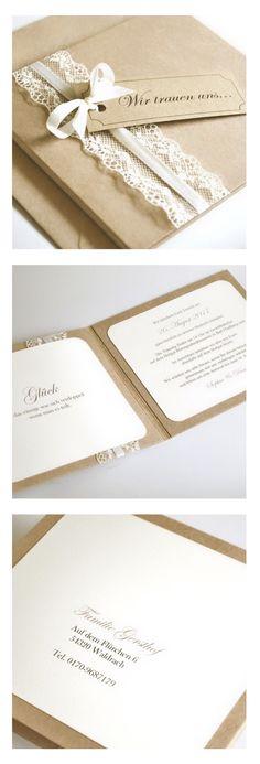 Einladungskarte zur Hochzeit - Vintage - mit Kraftpapier und Spitze - textdruck und Umschläge möglich
