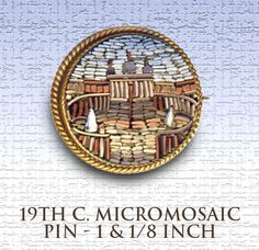 Brooch Circa 1900 Micromosaic St.Peter's Square Scene in Brass ~ R C Larner Buttons at eBay  http://stores.ebay.com/RC-LARNER-BUTTONS