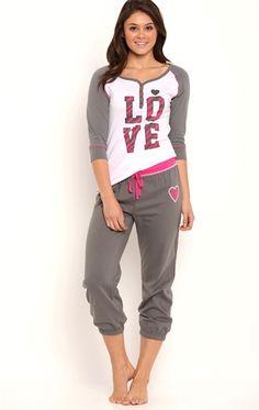 2 Piece Pajama Set with Raglan Love Top and Roll Leg Pant Pyjamas, Cozy Pajamas, Lounge Outfit, Lounge Wear, Love Pink Clothes, Pijamas Women, Pajama Day, Sleepwear Women, Me Time