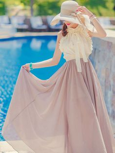 White Ruffle Bow Vest Top with Beige Maxi Skirt