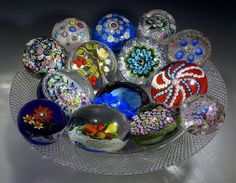 Paperweight Centerpiece - TG Hawkes American Brilliant Cut Glass 1890 bowl, with Clichy, Baccarat, Cape Cod GW, Saint Louis, New England Glass Co, Banford, Trabucco, Deacons, Rosenfeld, Parabelle, Lundberg paperweights! A delight for the eye!