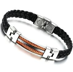 Classical PU Leather Braided Wrap Bracelet Stainless Steel Rose gold / Gold color  Man Wristband bracelet #Affiliate
