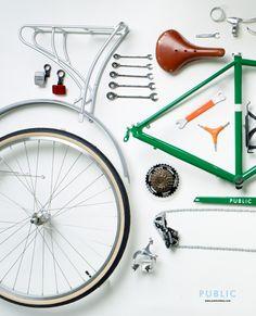 PUBLIC Bike disassembled & organized for Gap display.