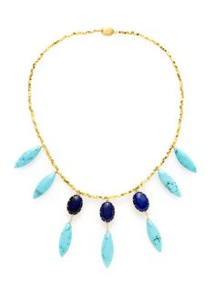 Lapis & Dyed Howlite Bib Necklace by Indulgems on Gilt.com