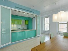designer Ricardo Tisci amazing mint kitchen/dining area