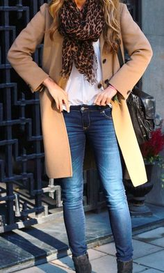 Blue jeans, white shirt, leopard print scarf and chesterfield coat