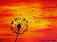 Dandelion Painting on 24x18 Large Canvas by Paintspiration on Etsy