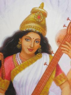 Hindu Goddess Saraswati art poster spiritual by HalstenbergStudio, $24.95