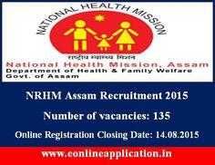 nrhmassam.in NRHM staff nurse recruitment 2015 posts 135