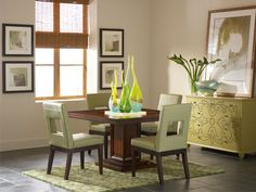 Liven up your dining room with the colorful and contemporary Campton Square Dining Room and Sage Chairs.