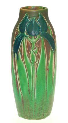~Rookwood~Artist: Rose Fechheimer~Circa 1906~Matte Glazed Iris Vase~