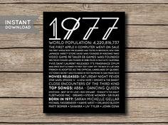 INSTANT DOWNLOAD 1977 Printable 40th by shopmarigoldlane on Etsy