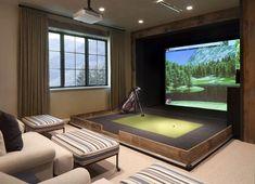 Home Golf Simulator, Indoor Golf Simulator, Colorado Mountain Homes, Colorado Rockies, Golf Room, Open House Plans, Golf Simulators, Luxury Real Estate, My Dream Home