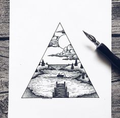 Maybe with a stairway to heaven? Maybe with a stairway to heaven? Cool Art Drawings, Pencil Art Drawings, Doodle Drawings, Art Drawings Sketches, Doodle Art, Easy Drawings, Tattoo Drawings, Sharpie Drawings, Horse Drawings