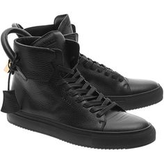 Buscemi 125MM Black Gold // High-top leather sneakers ($935) ❤ liked on Polyvore featuring men's fashion, men's shoes, men's sneakers, men wear, mens black high tops, mens leather sneakers, mens high top shoes, mens high tops and mens black leather sneakers