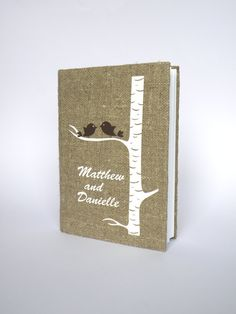 Items similar to Wedding Guest Book / Wedding Book / Rustic Wedding Guest Book / Linen Guest Book Size inches X inches Brown birds in birch tree on Etsy Rustic Wedding Guest Book, Wedding Book, Wedding Ideas, Crow Silhouette, White Birch Trees, Wedding Invitation Paper, Guest Book Tree, Brown Bird, Vinyl Paper