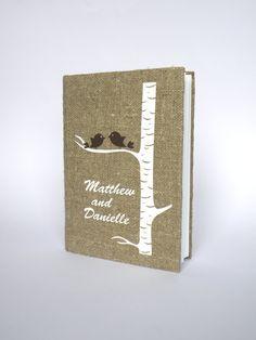 Hochzeitsgästebuch+aus+Leinen+von+Traumhochzeit+auf+DaWanda.com