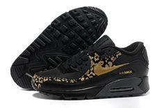 2014 Air Max 90 Leopard Print Black Metallic Gold Anthracite Womens Shoes  #black #shoes