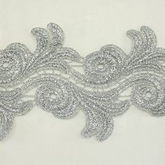 wide Silver Metallic Rayon Embroidery Lace Trim - Bridal wedding Lace Trim wedding fabric Millinery accent motif scrapbooking crafts lace for baby headband hair accessories dress bridal accessories by Annielov trim 344 -- Read more at the image link. Wholesale Hair Accessories, Handmade Hair Accessories, Bridal Accessories, Sewing Lace, Love Sewing, Lace Weddings, Unique Weddings, Edwardian Dress, Wedding Fabric
