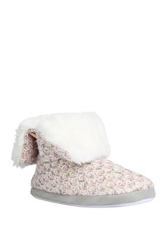 Tesco direct: F&F Faux Fur Collar Knitted Bootie Slippers