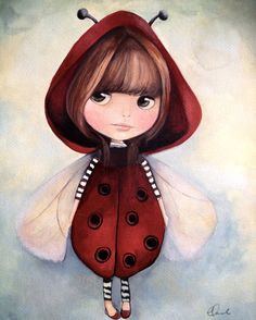 Blythe in ladybug outfit children's decor mini print claudia tremblay