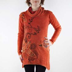 Dance through the fall leaves in flirty fairy style with the Flower cowl tunic.  This unique, 100% cotton tunic features vibrant floral embroidery, winding silkscreened leaves and vines, and a flattering asymmetrical high-low hem. The versatile cowl neck converts to a cozy hood for those blustery Autumn days!