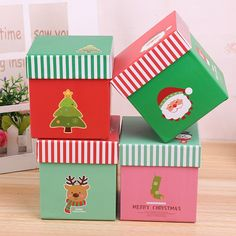 cardboard christmas gift boxes with lids - Christmas gift box Christmas Gift Boxes With Lids, Christmas Gifts, Apple Boxes, Paper Packaging, Party In A Box, Candy Boxes, Festival Party, Christmas Eve, Party Supplies