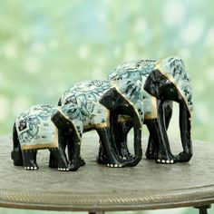 CraftVatika Elephant Statue Handpainted Animal Figurine Metal