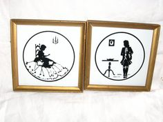 Set of two reverse painted victorian pictures gold by betsstuff, $30.00