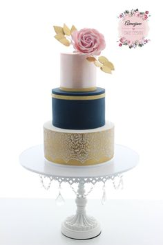 Gold Wedding Cakes Aimeejane Cake Design Wedding cake – gold, navy and blush pink - Aimeejane Cake Design Wedding cake - gold, navy and blush pink Navy Blue Wedding Cakes, Blush Wedding Cakes, Cool Wedding Cakes, Wedding Cake Designs, Rose Wedding, Gold Cake, Wedding Cake Inspiration, Wedding Ideas, Cake Decorating