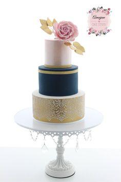 Aimeejane Cake Design Wedding cake - gold, navy and blush pink