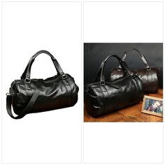 Mens Sports Duffle Bags PU Leather Travel Bags Gym Weekend Handbag Totes  Black Duffle Bags b98a25d3eaae3