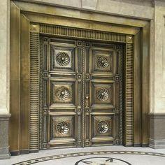 Main Door Design Entrance With Brass 18 Ideas For 2019 Grey Front Doors, Painted Front Doors, Glass Front Door, Sliding Glass Door, Door Gate Design, Main Door Design, Wrought Iron Staircase, Double Door Design, Old Door Knobs