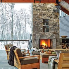 Here's to enjoying a wintery mix! Architecture by New England Homes, Backyard, Patio, Decks And Porches, Hair Raising, Hallway Decorating, House And Home Magazine, Rustic Decor, Guest Room