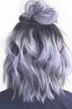 Silver Lavender Hair, Purple Grey Hair, Silver Ombre Hair, Lavender Hair Colors, Lilac Hair, Hair Dye Colors, Lavender Ideas, Gray Hair, Hair Color Silver Grey